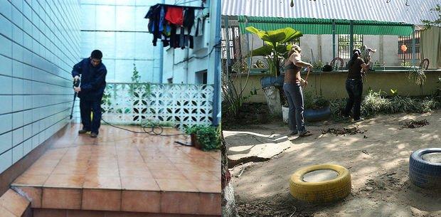 limpieza de patios para evitar el mosquito del dengue