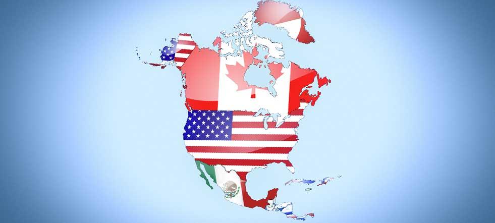 américa del norte en el mapa