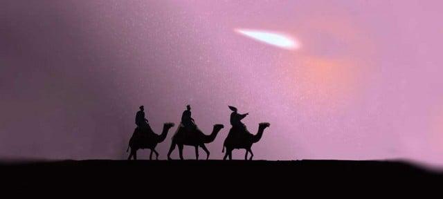 los tres reyes magos siguiendo al lucero en el desierto