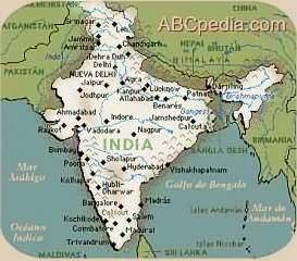 mapa de la ubicación de la India en el planeta