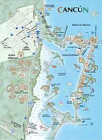 mapa playas cancún