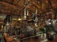 foto de fábrica alimentada por máquinas a vapor
