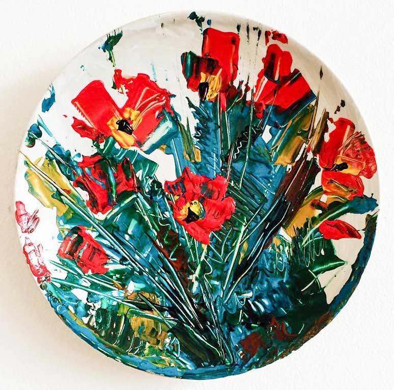 plato pintado decorativo