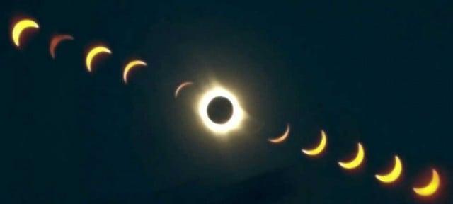 secuencia de un eclipse solar