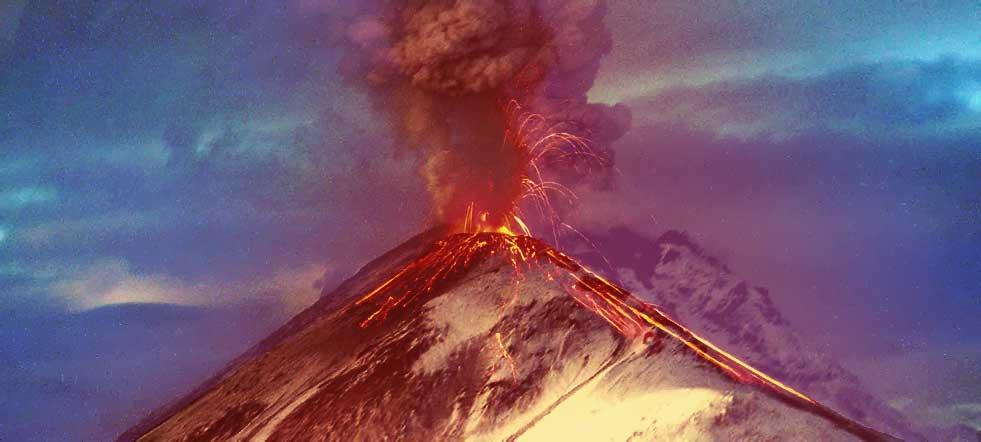 diagrama de las partes de un volcán