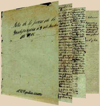 Foto de la carta de declaración de independencia