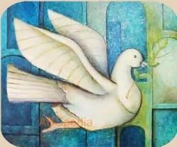 """La historia de la """"paloma de la paz"""" tiene sus raíces en la biblia: es una paloma blanca que se posa en el Arca de Noé con una ramita de olivo en su pico, señal de que las aguas del Diluvio Universal habían dado paso nuevamente a la tierra."""