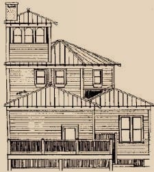 Plano de la construcción de una casa de techo a dos aguas.